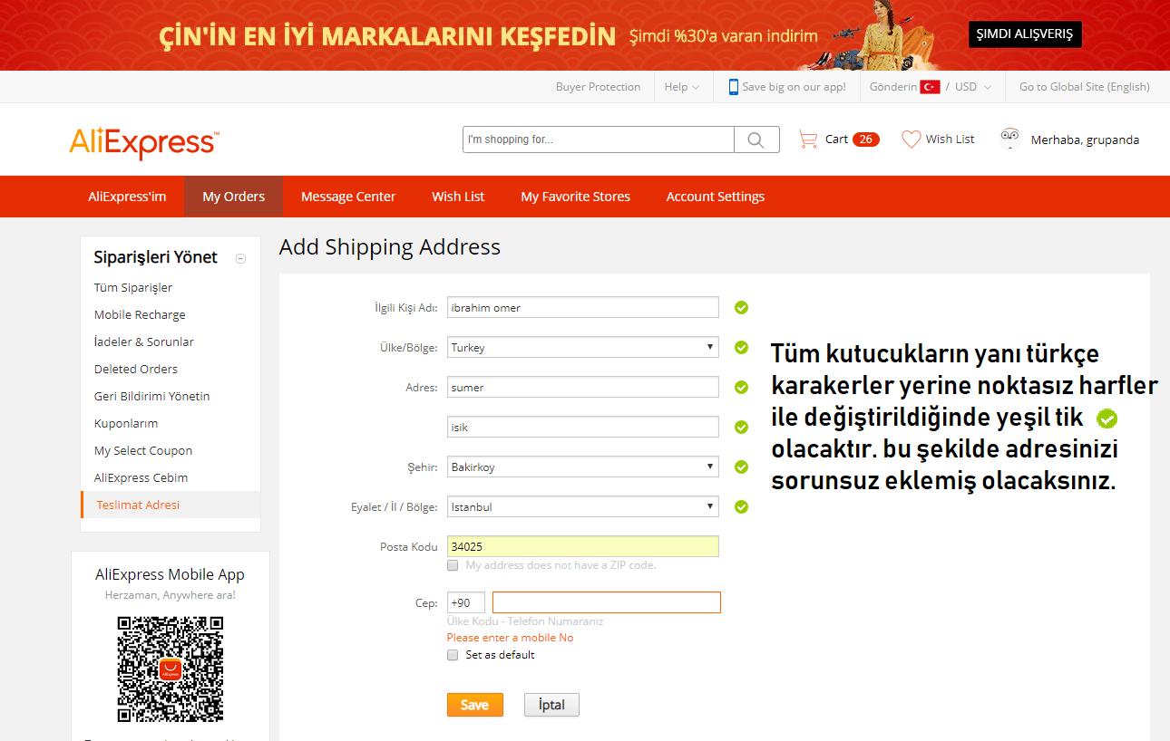 aliexpress adres örneği